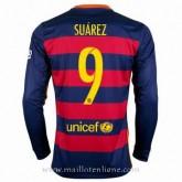 Maillot Barcelone Manche Longue Suarez Domicile 2015 2016 Nouvelle