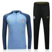 Maillot De Manchester City Formation Ml Bleue 2016/2017 Rabais en ligne