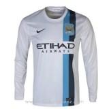 Maillot Manchester City Manche Longue Blanc 2013-2014 Promos