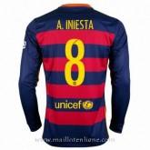 Nouvelle Collection Maillot Barcelone Manche Longue A.Iniesta Domicile 2015 2016